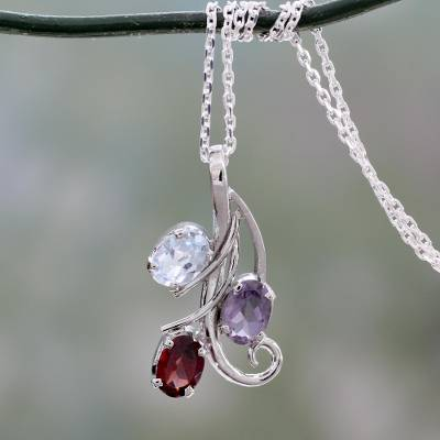 Amethyst, blue topaz and garnet pendant necklace, 'Trio of Delight' - Amethyst Blue Topaz and Garnet Pendant Necklace