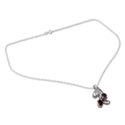 Amethyst Blue Topaz and Garnet Pendant Necklace
