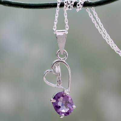 Amethyst pendant necklace, 'Tender Heart' - Amethyst and Silver Pendant Necklace with Heart Motif