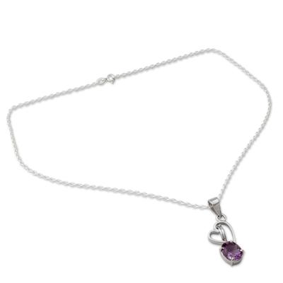 Amethyst pendant necklace, 'Tender Heart' - Amethyst and Silver Pendant Necklace with Heart Motif