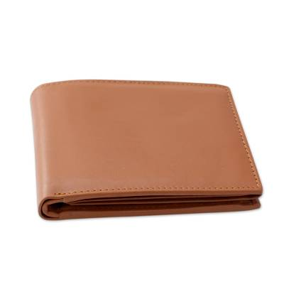 Men's leather wallet, 'Dashing Tan' - Men's Tan Leather Tri Fold Artisan Crafted Wallet