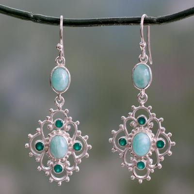 Amazonite and onyx dangle earrings, 'Garden Trellis' - Silver Dangle Earrings with Amazonite and Green Onyx