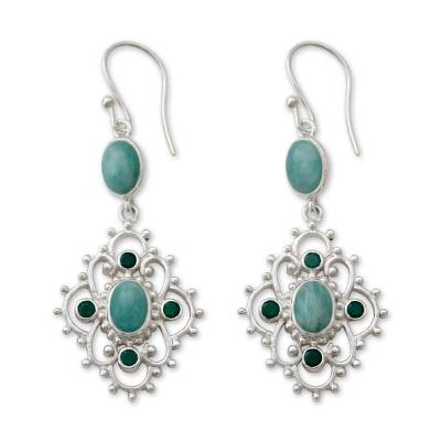 Silver Dangle Earrings with Amazonite and Green Onyx