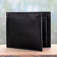 Men's leather wallet, 'Refined Black'