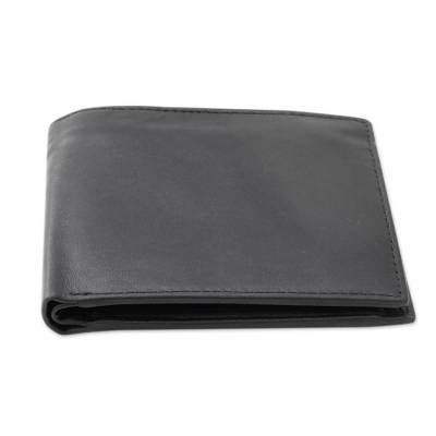 Men's leather wallet, 'Refined Black' - Handcrafted Men's Black Leather Wallet from India