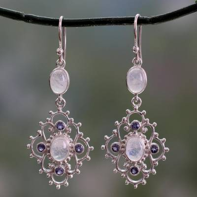 Iolite and rainbow moonstone dangle earrings, 'Garden Trellis' - Sterling Silver Earrings with Iolite and Rainbow Moonstone