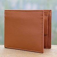 Men's leather wallet, 'Refined Tan' - Indian Classic Leather Wallet for Men in Tan