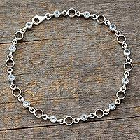 Blue topaz link anklet, 'Elegant Simplicity' - Link Style Anklet with Blue Topaz and Sterling SIlver