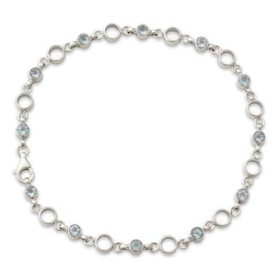 Link Style Anklet with Blue Topaz and Sterling SIlver
