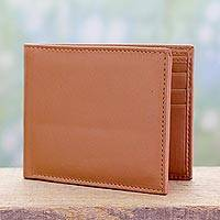 Men's leather wallet, 'Bengal Tan' - Men's Tan Wallet Crafted from Genuine Leather