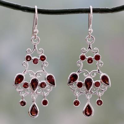 Garnet Chandelier Earrings Dancing Style In Silver With Garnets