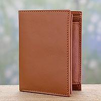 Men's leather wallet, 'Elegant Tan'