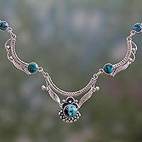 Natural turquoise pendant necklace, 'Jaipuri Crown' - Genuine Turquoise Pendant Necklace in Sterling Silver