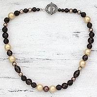 Smoky quartz and cultured pearl necklace, 'Regality' - Beaded Strand Necklace with Smoky Quartz and Pearls
