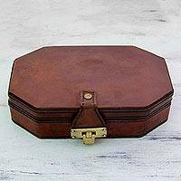 Leather jewelry box, 'Jewel Hunt' - Indian Handmade Velvet Lined Leather Jewelry Box