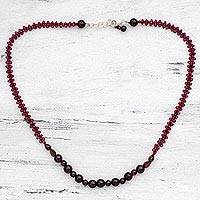 Garnet beaded necklace, 'Claret Wine' - Garnet Beaded Necklace Handmade in India