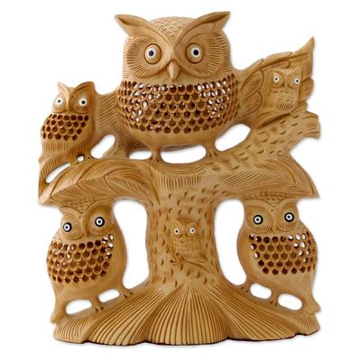 Wood jali sculpture, 'Midnight Family' - Hand Carved Wood Jali Sculpture of Owl Family