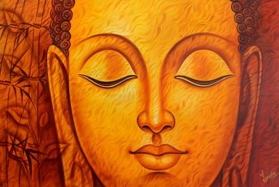 'Divine Light' - Painting of Buddha in Orange Palette by Indian Artist