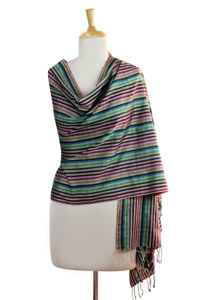 Silk shawl, 'Colors of Patna' - Colorful Striped Silk Shawl Hand Woven in India