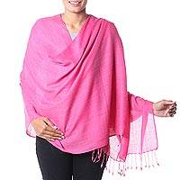 Wool and silk blend shawl, 'Cheerful Rose' - Deep Rose Pink Wool and Silk Blend Wrap for Women