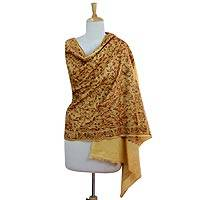 Embroidered wool shawl, 'Golden Sunrise' - Gold and Rust Embroidered Wool Shawl from India