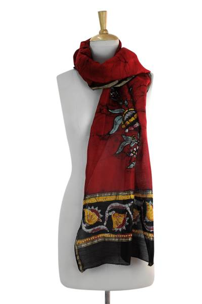 Cotton and silk blend scarf, 'Passionate Blossom' - Cotton and Silk Blend Floral Scarf in Red Brown and Yellow