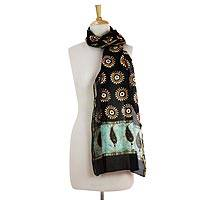 Cotton and silk blend scarf, 'Midnight Stars' - Artisan Crafted Batik Scarf in Cotton and Silk Blend