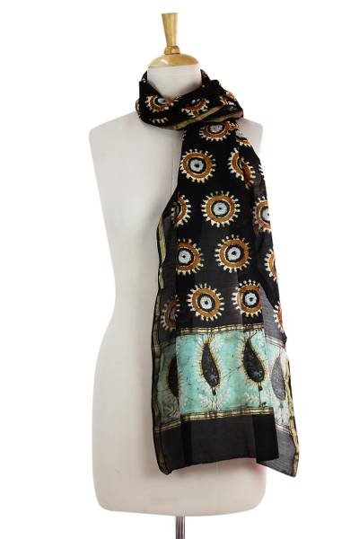 Cotton and silk blend scarf, 'Midnight Stars' - Artisan Crafted Batik Scarf in Cotton and Silk Blend