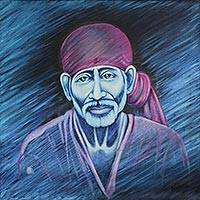 'Peaceful Sai Baba' - Oil Portrait Painting of Indian Spiritual Master