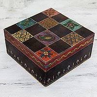 Handpainted decorative wood box, 'Jodhpur Gala' - Artisan Crafted Painted Wood Decorative Box and Lid