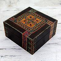 Handpainted decorative wood box, 'Royal Jodhpur' - Multicolored Decorative 6-Inch Wood Box Painted by Hand