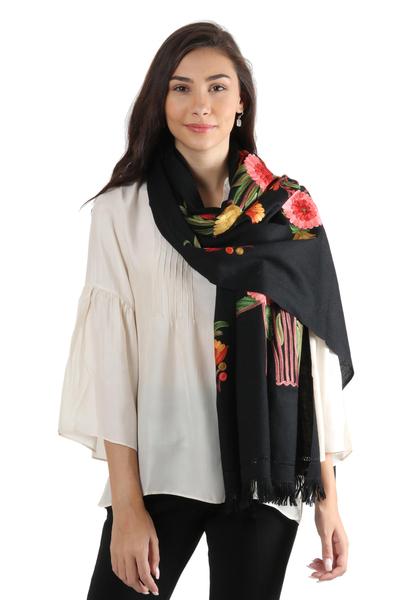 Embroidered wool shawl, 'Midnight Garden' - Fair Trade Artisan Black 100% Wool Shawl with Multi coloured
