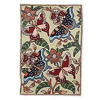 Wool chain stitch rug, 'Dancing Butterflies' (2x3) - Multicolor Wool Chain Stitch Rug with Butterfly Theme (2x3)