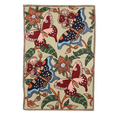 Wool chain stitch rug, 'Dancing Butterflies' (2x3) - Hand Crafted Indian Chain Stitched Artisan Accent Rug of 100