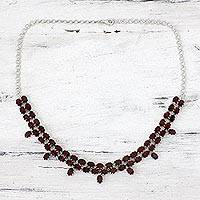 Garnet pendant necklace, 'Royal Jaipur'