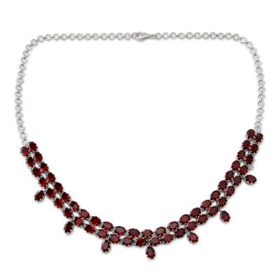 Garnet pendant necklace, 'Royal Jaipur' - Elegant Garnet Pendant Necklace in Rhodium Plated Silver