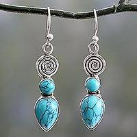 Sterling silver dangle earrings, 'Spiral Sky' - Sterling Silver and Reconstituted Turquoise Dangle Earrings