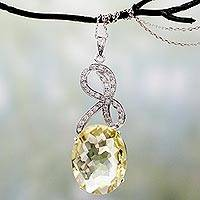 Lemon quartz pendant necklace, 'Dawn Light' - Lemon Quartz and CZ Pendant Necklace in Silver Settings
