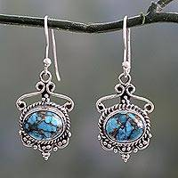Sterling silver and composite turquoise dangle earrings, 'Oceans of Love'