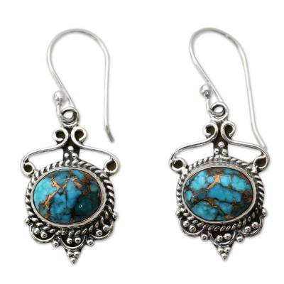 Blue Composite Turquoise and Sterling Silver Dangle Earrings