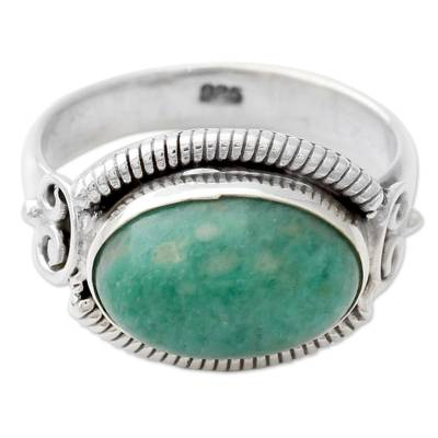 Amazonite Single Stone Cocktail Ring in 925 Silver