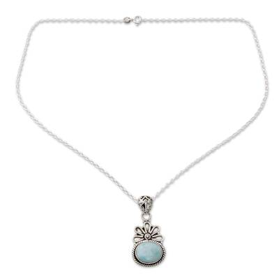 Pendant Necklace with Larimar and Sterling Silver 925