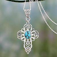 Sterling silver cross pendant necklace, 'Peaceful Wish' - Lacy Sterling Silver Cross Necklace with Blue Stone