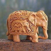 Wood sculpture, 'Peace and Harmony' - Meticulously Carved Wood Elephant Sculpture from India