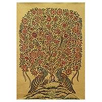 'The Golden Mirage' - Kalamkari Style Painting of Tree of Life on Canvas
