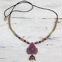 Ceramic pendant necklace, 'Pink Harmony' - Indian Unique Beaded Ceramic Necklace in Pink and Gold