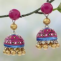 Ceramic dangle earrings, 'Pink Harmony' - Handcrafted Ceramic Dangle Earrings in Pink and Gold