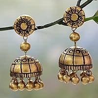 Ceramic dangle earrings, 'Golden Chakra'
