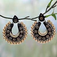 Ceramic dangle earrings, 'Golden Gala' - Fair Trade Hand Painted Black and Gold Ceramic Earrings