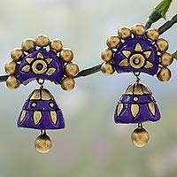 Ceramic dangle earrings, 'Iris Chakra' - Gold and Purple Ceramic Dangle Style Earrings from India